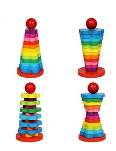 Turn din Lemn Colorat - Rainbow Tower