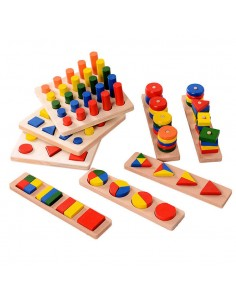 Set 8 Jucarii Montessori Educative din Lemn