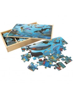4 Puzzle din Lemn in Cutie - Animale Marine - 112 Piese