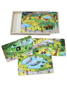 4 Puzzle din Lemn in Cutie - Animale Zoo - 112 Piese