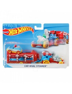 Set Camion Si Masina Sport Hot Wheels Carnival Steamer